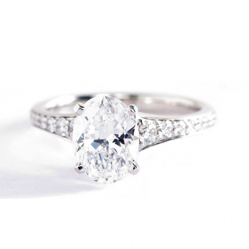 1.35 Cts SI2 D Descending Oval Cut Diamond Engagement Ring 18K White Gold