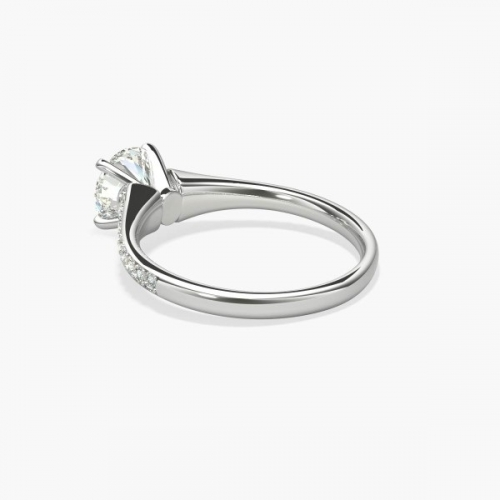 GIA Certified 1.05 Cts SI2 D Descending Round Diamond Engagement Ring Platinum
