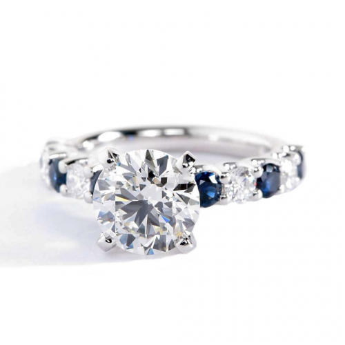 1.80 Cts SI2 F Blue Sapphire Round Cut Diamond Engagement Ring 18K White Gold