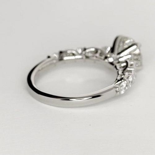 GIA Certified 1.70 Cts VS2 F Petite Round Cut Diamond Engagement Ring Platinum