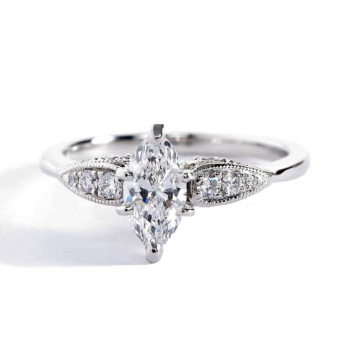 1.00 Ct SI2 D Contemporary Marquise Cut Diamond Engagement Ring 18K White Gold