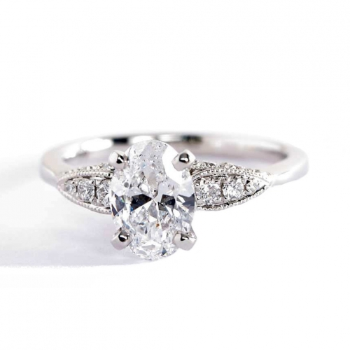 1.20 Carats SI2 F Contemporary Oval Cut Diamond Engagement Ring 18K White Gold