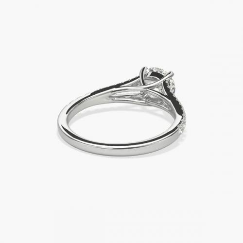 GIA Cert 0.80 Ct VS2 F Split Shank Round Diamond Engagement Ring 18K White Gold