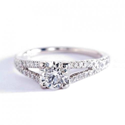 0.80 Carat SI2 D Split Shank Round Cut Diamond Engagement Ring 18K White Gold