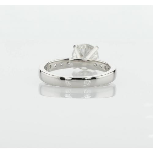 1.95 Carats SI2 H Channel Set Round Cut Diamond Engagement Ring Platinum