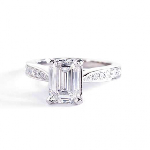 1.30 Cts VS2 F Vintage Tap up Emerald Cut Diamond Engagement Ring 18K White Gold