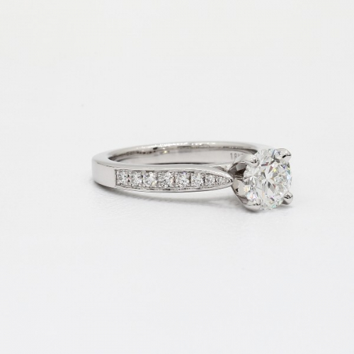1.30 Cts SI2 D Vintage Tap up Round Cut Diamond Engagement Ring 18K White Gold