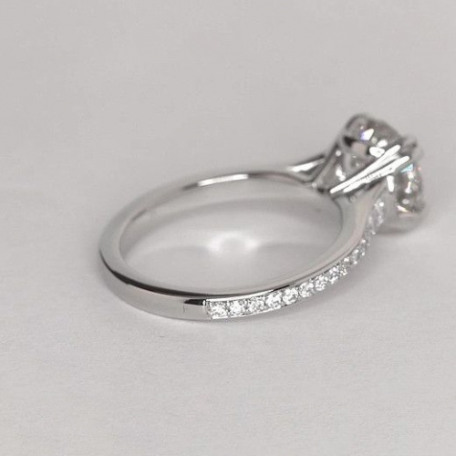 1.25 Cts SI2 F Double Prongs Round Cut Diamond Engagement Ring Platinum