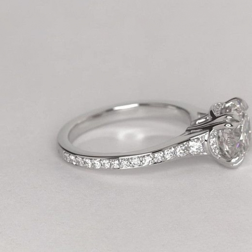 1.05 Cts SI2 F Double Prongs Round Cut Diamond Engagement Ring Platinum