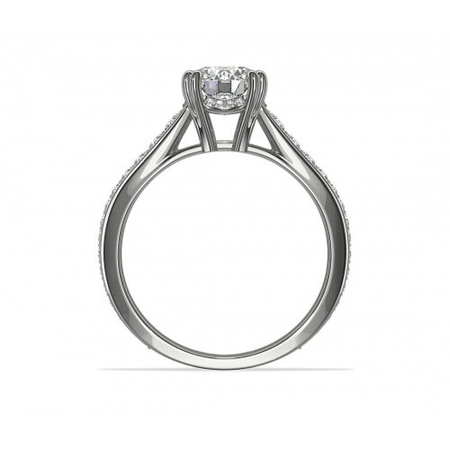 1.35 Cts SI2 D Double Prongs Round Cut Diamond Engagement Ring Platinum
