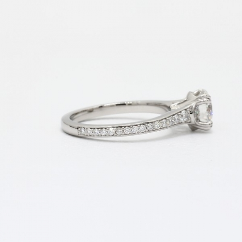 GIA 0.85 Ct VS2 F Double Prongs Round Diamond Engagement Ring 18K White Gold