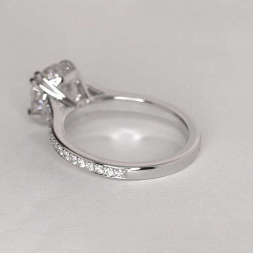 1.05 Cts VS2 H Double Prongs Round Cut Diamond Engagement Ring 18K White Gold