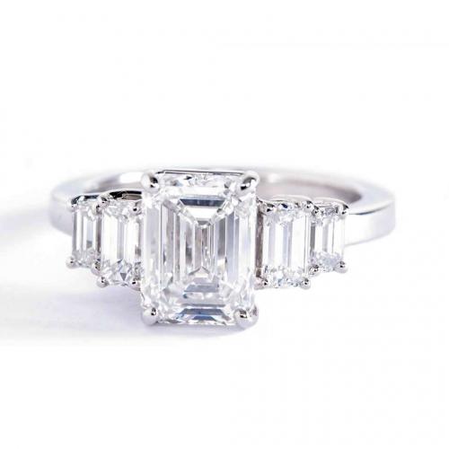 2.00 Carats VS2 F Five Stone Emerald Cut Diamond Engagement Ring Platinum