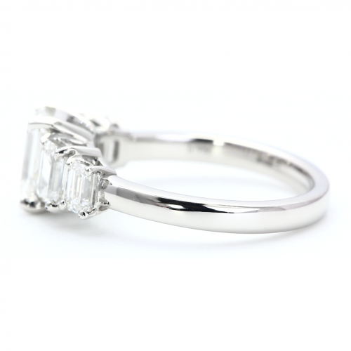 1.70 Carats VS2 F Five Stone Emerald Cut Diamond Engagement Ring Platinum