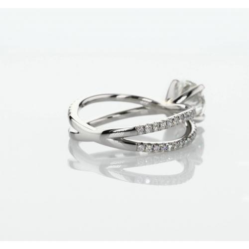 1.30 Cts SI2 F Studio Empress Round Cut Diamond Engagement Ring 18K White Gold