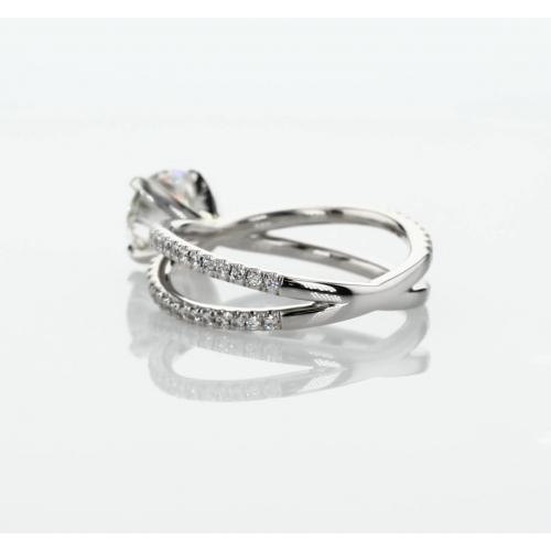 1.10 Cts SI2 D Studio Empress Round Cut Diamond Engagement Ring 18K White Gold