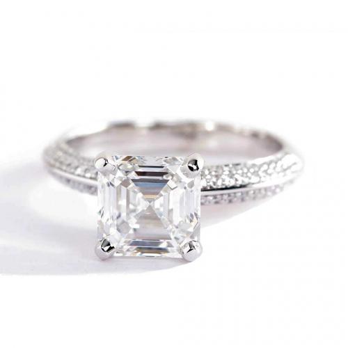 1.40 Cts SI2 F Knife Edge Micropavé Asscher Cut Diamond Engagement Ring Platinum