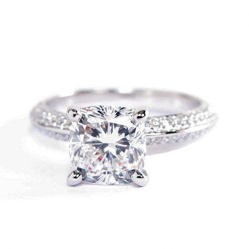 1.40 Cts VS2 D Knife Edge Micropavé Cushion Cut Diamond Engagement Ring Platinum