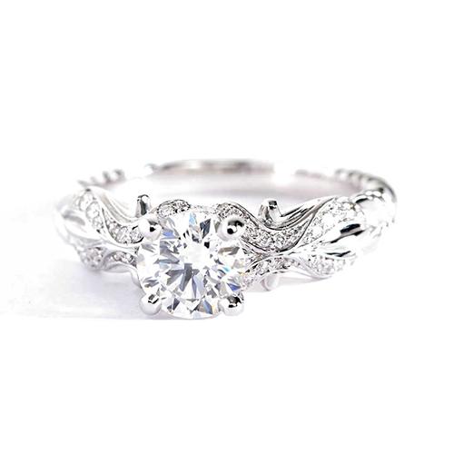 1.00 Carat SI2 H Tendril Round Cut Diamond Engagement Ring Platinum