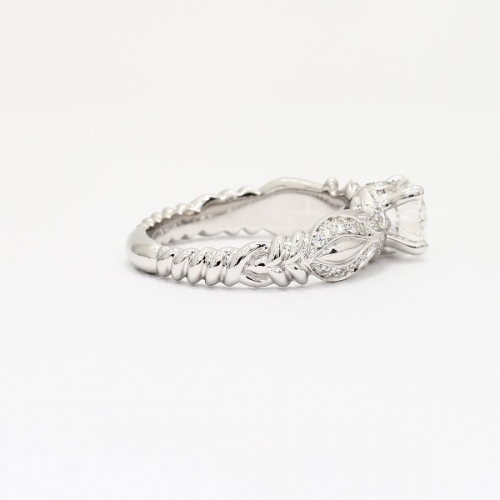 0.80 Carat SI2 D Tendril Round Cut Diamond Engagement Ring 18K White Gold