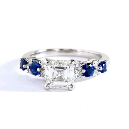 1.50 Cts VS2 F Garland Sapphire Asscher Diamond Engagement Ring 18K White Gold