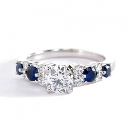1.10 Cts SI2 F Garland Sapphire Round Cut Diamond Engagement Ring 18K White Gold