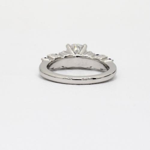 1.10 Cts SI2 F Garland Sapphire Round Cut Diamond Engagement Ring 18K White Gold