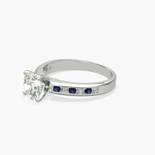 GIA 1.20 Cts SI2 F Channel Set Round Diamond Engagement Ring 18K White Gold