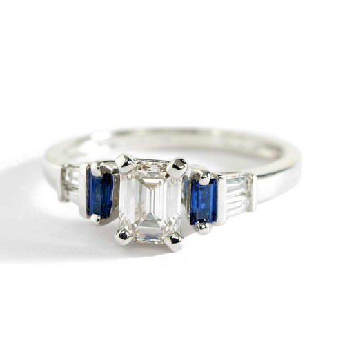 1.00 Ct VS2 H Blue Sapphire Emerald Cut Diamond Engagement Ring 18K White Gold