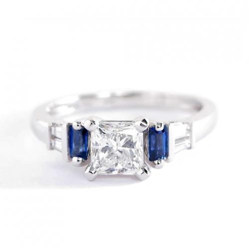 GIA 1 Ct VS2 F Blue Sapphire Princess Diamond Engagement Ring 18K White Gold