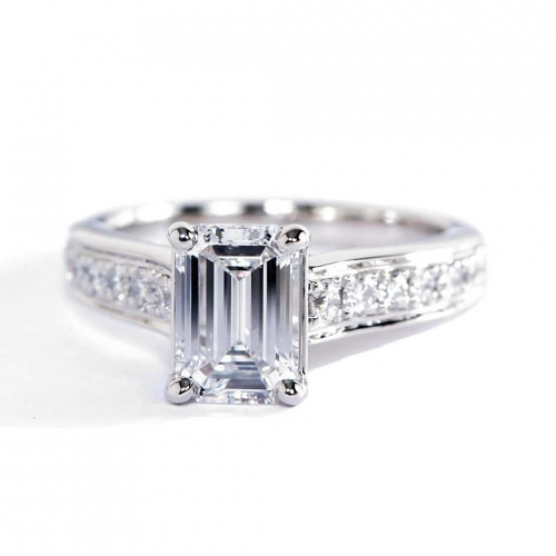 GIA Certified 1.50 Cts VS2 D Graduated Emerald Diamond Engagement Ring Platinum