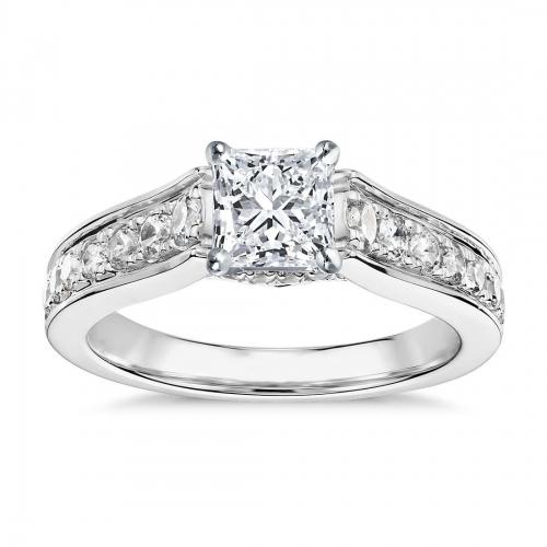GIA Cert 1 Ct VS2 F Graduated Princess Diamond Engagement Ring 18K White Gold