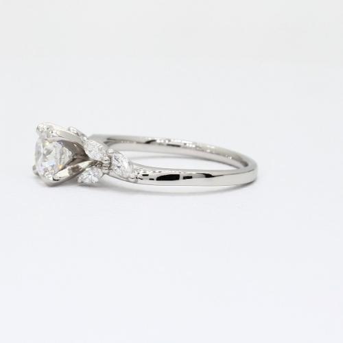 1.80 Carats SI2 F Leaf Inspired Round Cut Diamond Engagement Ring Platinum