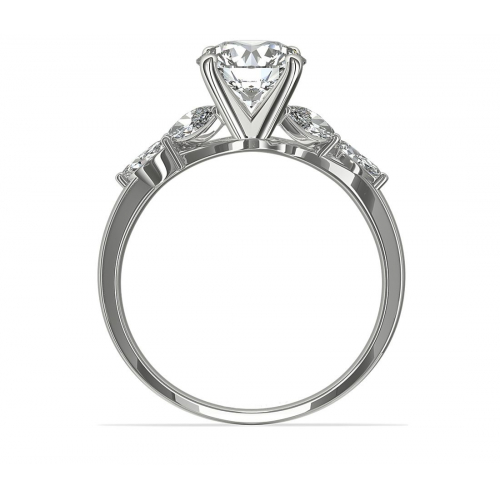 1.20 Cts VS2 F Leaf Inspired Round Cut Diamond Engagement Ring 18K White Gold
