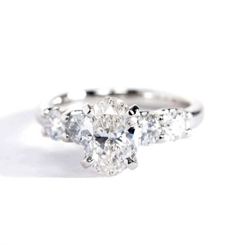 GIA Cert 1.70 Cts SI2 F 5 Stone Oval Diamond Engagement Ring 18K White Gold