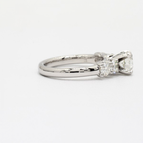 1.50 Carats SI2 F Five Stone Round Cut Diamond Engagement Ring Platinum