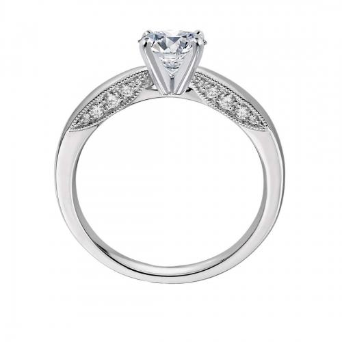 GIA Cert 0.66 Ct SI2 D Milgrain Round Diamond Engagement Ring 18K White Gold