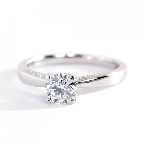 0.66 Carat SI2 H Milgrain Round Cut Diamond Engagement Ring 18K White Gold