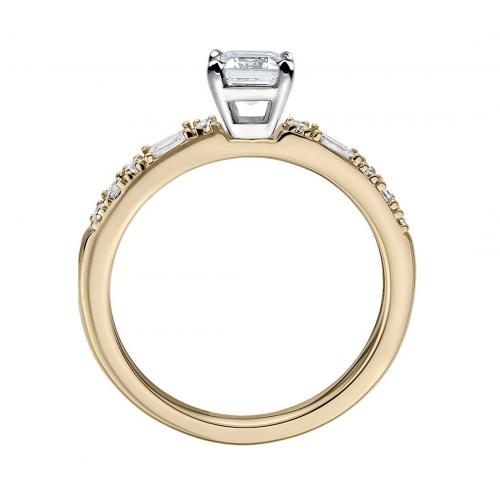 GIA 1.20 Cts SI1 F Dot Dash Emerald Diamond Engagement Ring 18K Yellow Gold