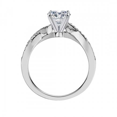 0.80 Carat VS2 F Intertwined Princess Cut Diamond Engagement Ring 18K White Gold