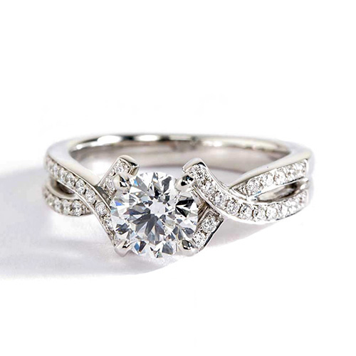 0.80 Carat SI2 F Intertwined Round Cut Diamond Engagement Ring 18K White Gold
