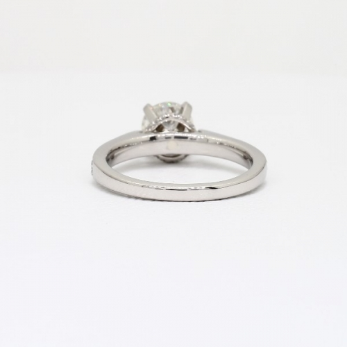 0.50 Carat VS2 F Tapered Milgrain Round Cut Diamond Engagement Ring Platinum