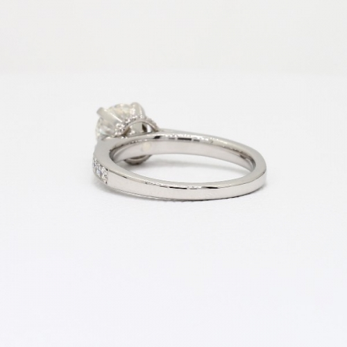 0.70 Carat SI2 F Tapered Milgrain Round Cut Diamond Engagement Ring Platinum