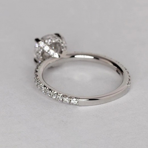 GIA Cert 1.30 Cts SI2 D Petite French Cushion Diamond Engagement Ring Platinum