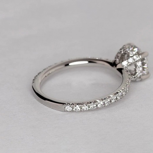 0.80 Ct SI2 F Petite French Cushion Cut Diamond Engagement Ring 18K White Gold