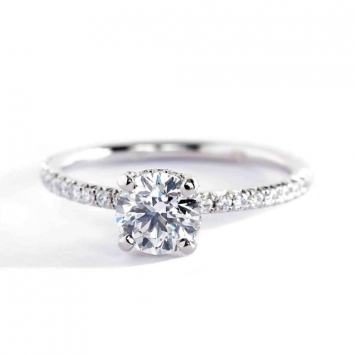 GIA Cert 0.80 Ct SI2 F Petite French Round Diamond Engagement Ring Platinum