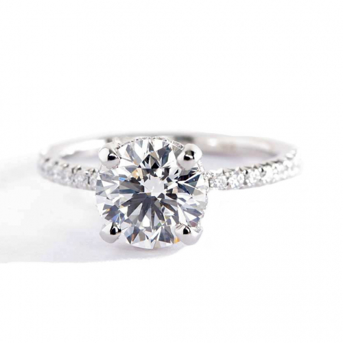 1.80 Carats SI2 F Petite French Round Cut Diamond Engagement Ring Platinum