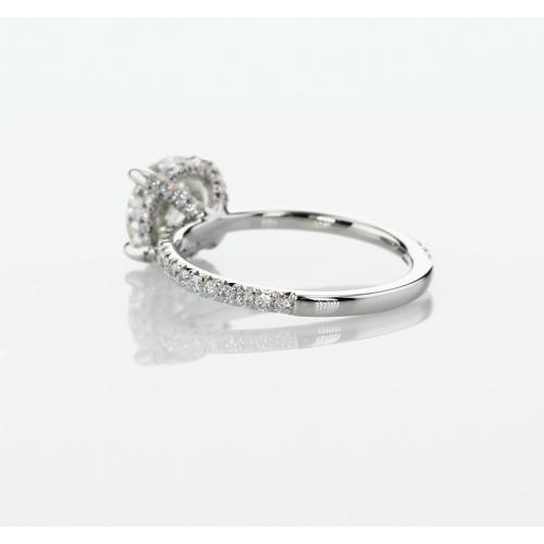 1.80 Carats SI2 F Petite French Round Cut Diamond Engagement Ring Platinum