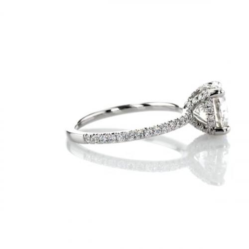1.20 Carats SI2 D Petite French Round Cut Diamond Engagement Ring Platinum