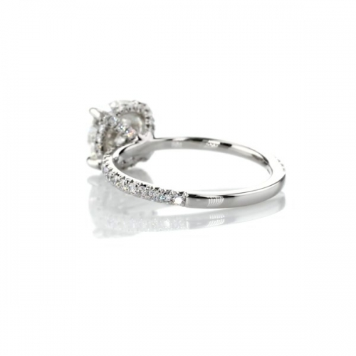 1.30 Cts SI2 F Petite French Round Cut Diamond Engagement Ring 18K White Gold